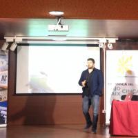 Diego Dieste durante su conferencia en Fraga